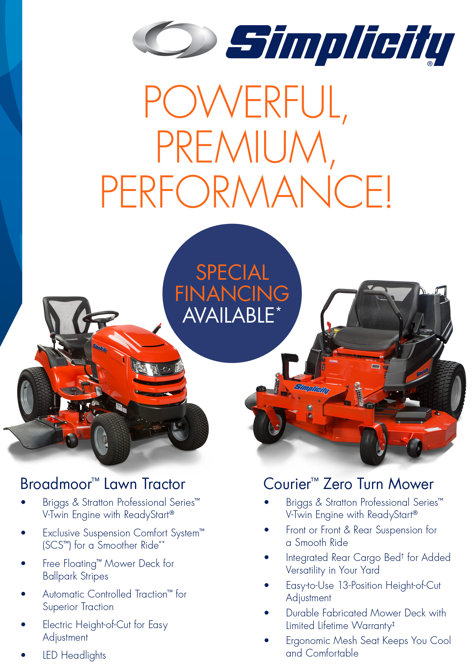 Simplicity Lawn Tractor and Zero Turn Mowers | Charlie's